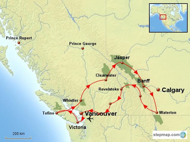 Carte Ouest Canadien Et Americain.Canada Ouest Fly Drive Tous Les Grands Parcs De L Ouest